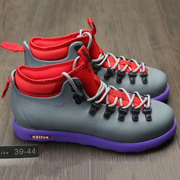 Native Fitzsmmons boots for men shoes waterproof Martin boots lovers Grey+Red G-A0-HXYDXPF