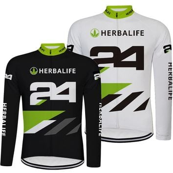 New Black and White HERBALIFE Men Cycling Jersey Long Sleeve Top Quality MTB Road Bike Clothes Cycling Wears Shirt Ropa Ciclismo