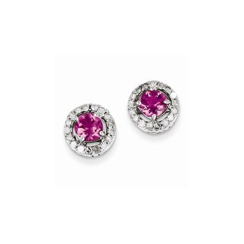 Sterling Silver Diamond & Pink Tourmaline Circle Post Earrings