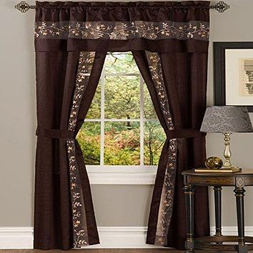 Ben&Jonah Collection Fairfield 5 Piece Window Curtain Set - 55x63 - Chocolate