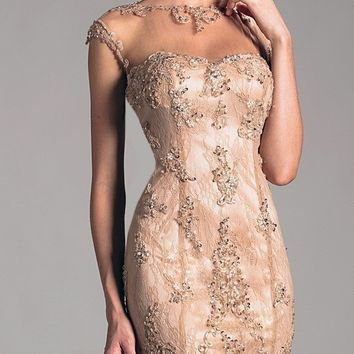 2015 Elegant Cocktail Dresses For Women Sheath Crew Sheer Cap Sleeves Lace Beading Hollow Back Knee Length Gold Party Dress