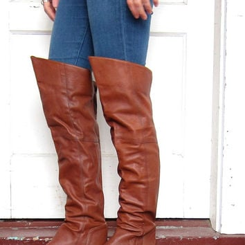 Brown Leather Over The Knee Boots - Cr Boot