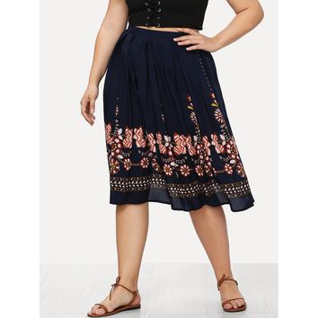 Tribal Flower Print Box Pleated Skirt