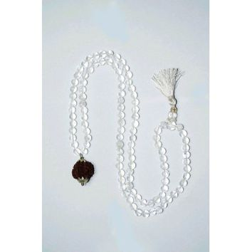 Mogul Crystal Beads Necklace Mala 5 Faces Rudraksha Pendent Yoga Mala - Walmart.com