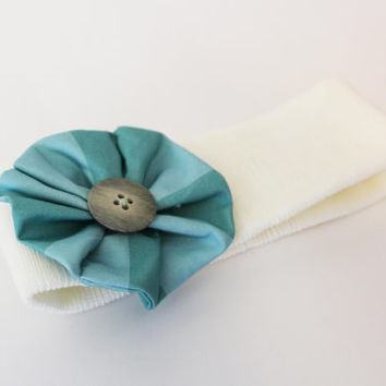 Ready to Ship - Blue Turqouise Fabric Flower Ivory Knit Girls Headband Head Wrap Adult Flower Boutique Children