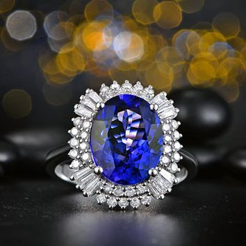 18Kt/ 750 Gold 4.07ct Natural Tanzanite 0.68ct Round Cut Diamond Engagement Ring Jewelry Gemstone