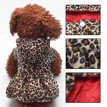 Winter Pet Dog Clothes For Small Dogs Leopard Dress Puppy Cotton Hoodie Both Sides Wear Dog Coat Jackets Costume Apparel XS-XL
