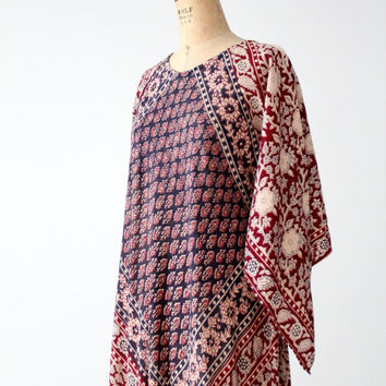vintage block print caftan, 70s India cotton hippie dress