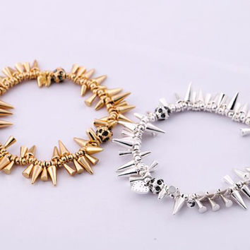 Fashion Classic Women Costumes Jewelry Renegade Cluster Bracelet Stella Gold Plated Spikes Stretch Pave Dot Beads Adorn