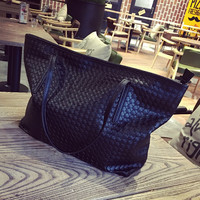 Black Leather Large Shopping Bag Crossbody Shoulder Handbag