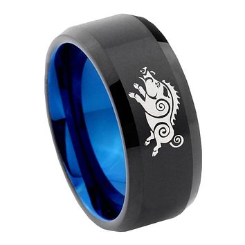 8mm Wild Boar Bevel Tungsten Carbide Blue Mens Promise Ring