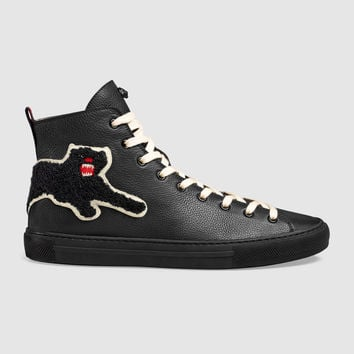 Gucci Leather high-top with panther