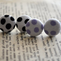 Fabric Button Earrings - Polka Dot Fabric - White Earrings - Black Purple and White Party Favors - Birthday Gift