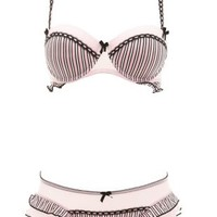 Striped Ruffle Bra & Panty Set by Charlotte Russe - Pink Combo