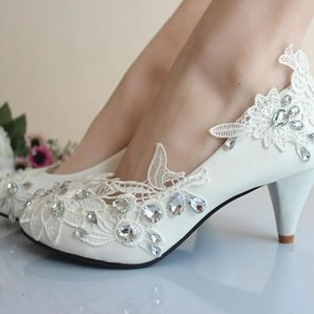 Elegant WhIte Crystal Lace Flower Women Bridal Shoes Fashion Sweet Wedding Party Mid H