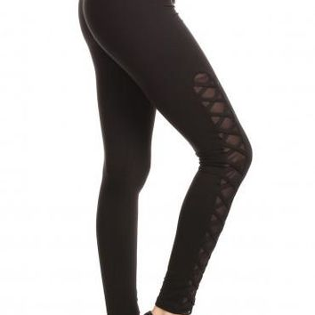 Cross Side Work Out Legging - Black
