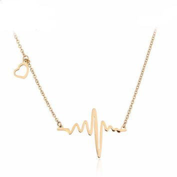 Trendy Heart Necklace Pendants Stainless Steel Silver/Gold Color Heartbeat Chain Necklace No Fade Women Fashion Jewelry