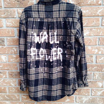 """Plaid flannel """"Wall Flower"""" hand painted shirt // soft grunge"""