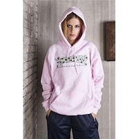 Thrasher Fashion Casual Long Sleeve Roses Light Pink Hoodie Sweater