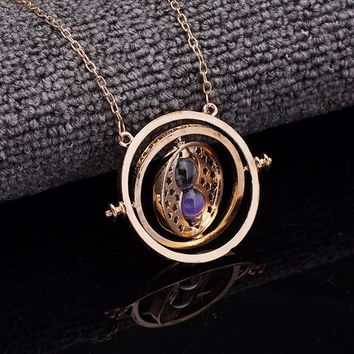 Hot Quality Exquisite Harry Time Turner Necklace Hermione Granger Rotating Spins Gold Hourglass Vintage Round Sandglass Jewelry