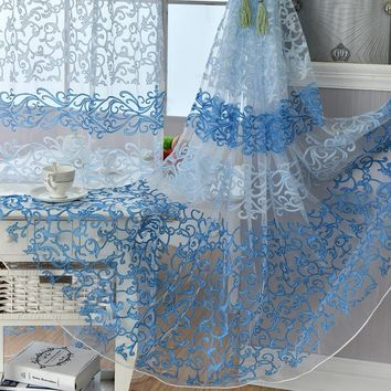 Home Decor Flocking Floral Pattern Tulle Curtains