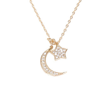 Moon & Star CZ Necklace