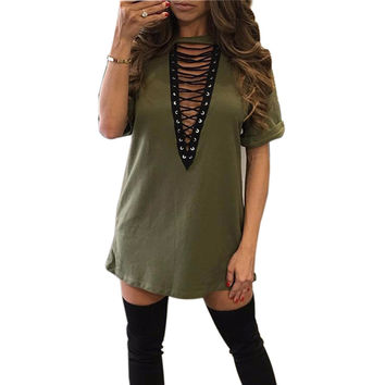 S-3XL Explosion Women Shirts Dress V -Neck Short Sleeve Loose Dresses Summer Sexy Casual Shirts Dress Vestidos 4 Colors GV529