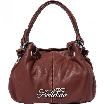 Italian Calf Skin Brown Genuine Leather Shoulder Bag