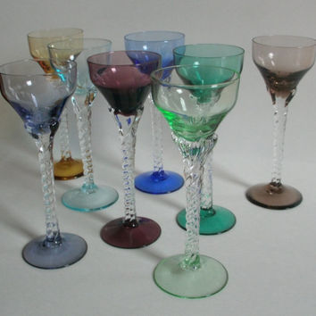 Multi Colored Handmade Cordial Glasses with Twisted Crystal Stems
