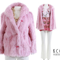 "Faux Fur Coat Pink Faux Fur Jacket 90s Clothing Vegan Made in the USA Pastel Grunge Goth 1990s Vintage Clothing Women's Size  S/M - 36"" Bust"