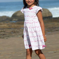 Pink Floral Print Casual Dress with Puff Ruffle Sleeves & Bows for Spring & Summer Wear (Girls 2T to Size 8)