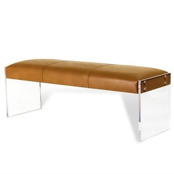 Aiden Leather Bench in Tan