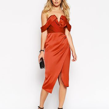 ASOS Off Shoulder Drape Wrap Midi Dress