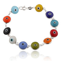 Multicolored Rainbow Style 925 Sterling Silver 7 Inch Evil Eye Bracelet