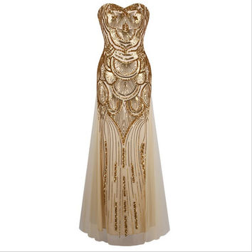 Long golden dress sequins bind strapless evening dress with elegant cultivate one's morality