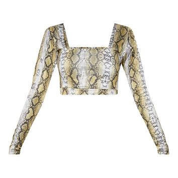 Green Snake Skin Slinky Square Neck Long Sleeve Crop Top