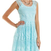 Mint Cross-Dyed Lace Dress by Charlotte Russe