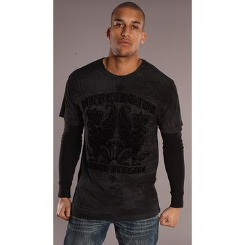 Affliction Guardian Lion Mens Layered Shirt Black