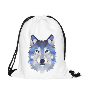 Diamond Wolf Drawstring Bags Cinch String Backpack Funny Funky Cute Novelty