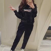 """Balenciaga"" Women Casual Fashion Gold Velvet Letter Long Sleeve Hoodie Sweater Trousers Set Two-Piece Sportswear"