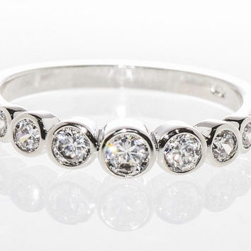 Sterling Silver Cubic Zirconia Ring with Rhodium CZ Circles