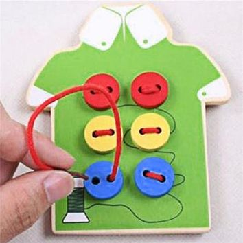Kids Montessori Educational Toys Children Beads Lacing Board Wooden Toys Toddler Sew On Buttons Early Education Teaching Aids