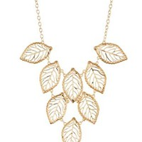 Gold Leaf Charm Bib Necklace by Charlotte Russe