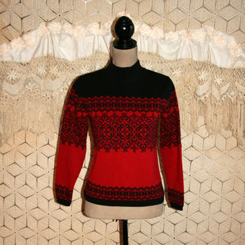 Red Black Fair Isle Sweater Norwegian Nordic Ski Sweater Warm Sweater Cotton Pullover Sweater Winter Sweater Talbots Small Women Clothing