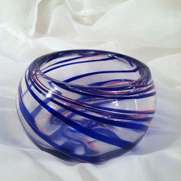 Spiral Bowl - Hand Blown Glass Art -Clear with Ribbon Cane