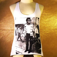 Tank Small Ladies Bruce Springsteen singer rock retro radio polyester cotton blend singlet top for women MINI -Size XS S