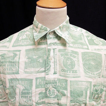 Retro 90's Green Coffee Can Pantry Crazy Pattern Shirt M