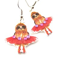 Owl Dancer Animal Watercolor Dangle Earrings with Rhinestones | Handmade Shrink Plastic