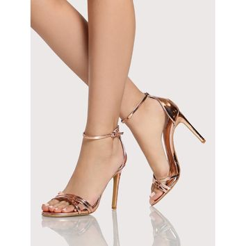 Strappy Patent Sandal Heels ROSE GOLD