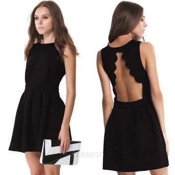 Stylish Women's Fashion Sleeveless O-Neck Sexy Backless Pleated Loose Elegant Dress 7_S = 1916593348